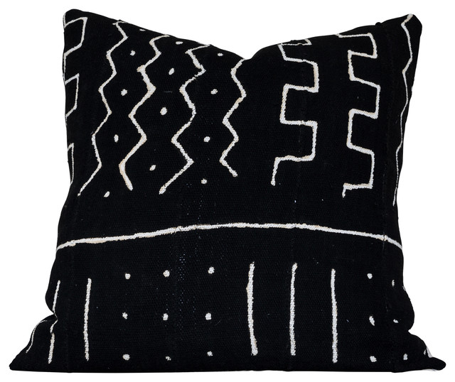 Ghat B Decorative Pillow, Authentic Black and White African Mud Cloth