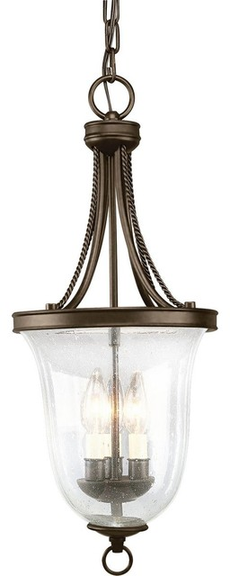 Progress Lighting 3-Light Foyer With Clear Seeded Glass Bowl, Antique Bronze.