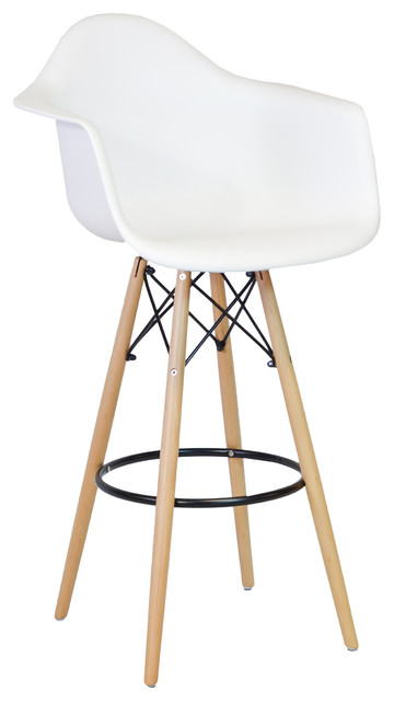 Remarkable Midcentury Modern Daw Style Bar Stool With Arms White Dailytribune Chair Design For Home Dailytribuneorg
