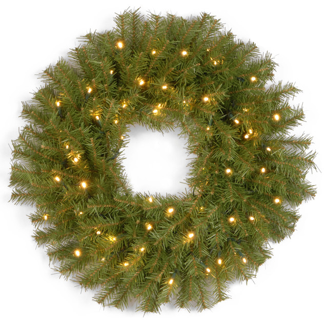 24 Norwood Fir Wreath With 50 Warm White Battery Operated Led Lights With Timer.