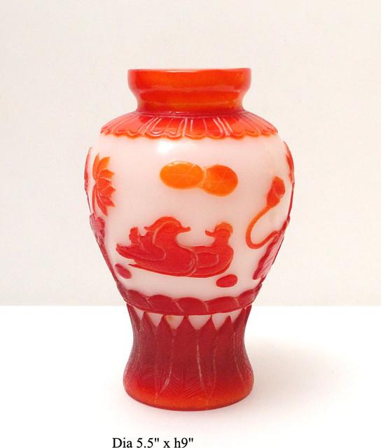 Chinese Orange White Overlay Peking Glass Vase Asian Vases By Golden Lotus Antiques
