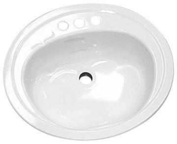 Drop In Oval Bathroom Sink, Enameled Steel, White, 20x17.
