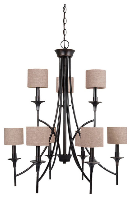 Stirling 9 light chandeliers in burnt sienna midcentury for Decor 9 stirling