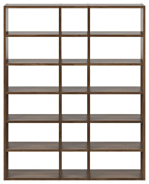 Modern Modular Thick Large Book And Display Shelves, Natural Walnut