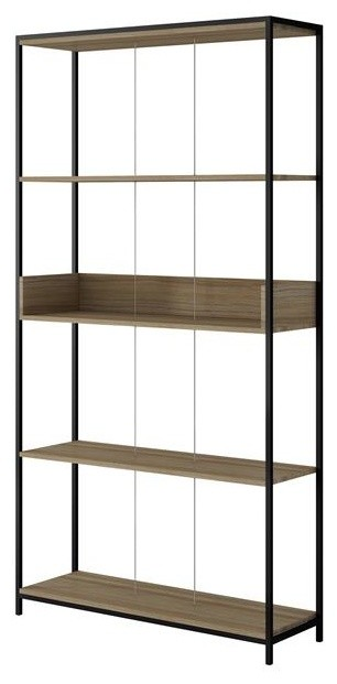 "Manhattan Comfort Ellis 37"" Bookcase 1.0 With 4-Shelf, Dark Oak And Black."