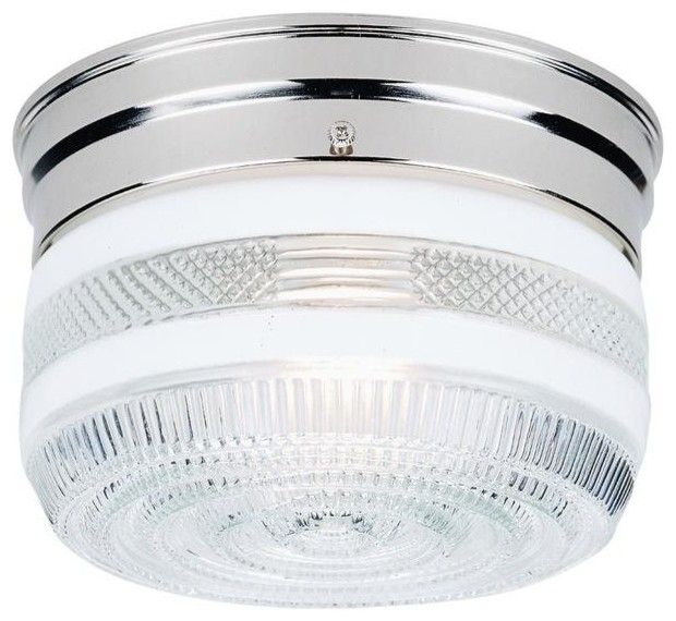 Westinghouse 1-Light Flush Mount, Chrome Finish With White And Clear Glass.