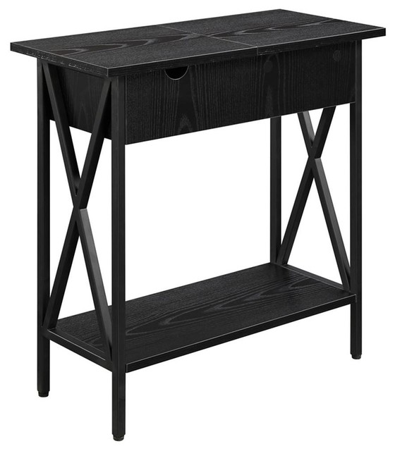 Electric Flip Top Table Black Contemporary Side
