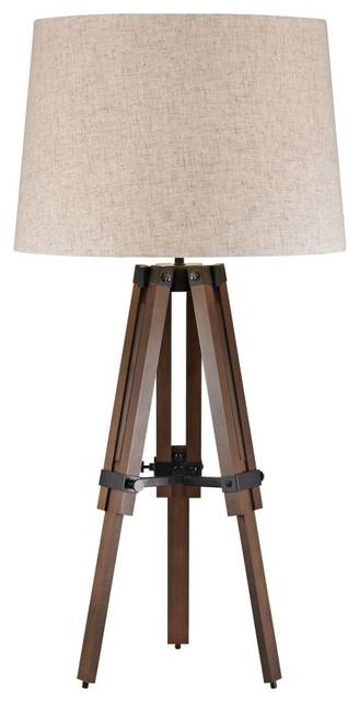 Wooden Brace Tripod 1-Light Table Lamp, Walnut And Oil Rubbed Bronze.