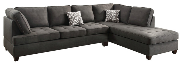 Modern Contemporary Sectional Sofa with Reversible Chaise, Charcoal Gray  Black
