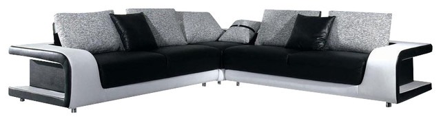 B333 Two-Tone Black u0026 White Leather Sectional Sofa With Grey Fabric Cushions sectional-  sc 1 st  Houzz : two tone leather sectional - Sectionals, Sofas & Couches