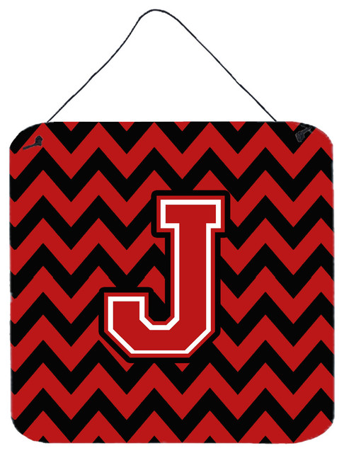 Letter J Chevron Black And Red Wall Door Hanging Prints Contemporary Outdoor Art By The