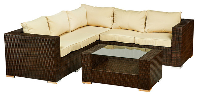 Kessler 4 Pieces Outdoor Wicker Sectional Sofa Set