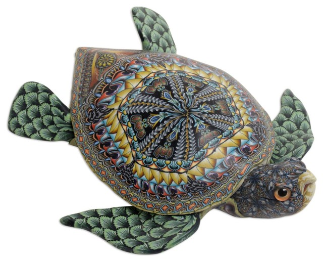 Turquoise and gold sea turtle handmade polymer clay sculpture figurine statue stone crystal