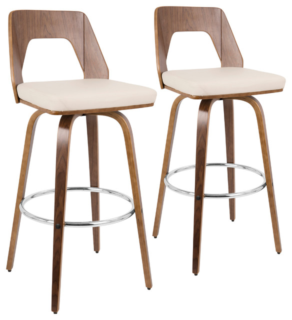 LumiSource Trilogy Barstool, Walnut and Cream PU Leather, Set of 2