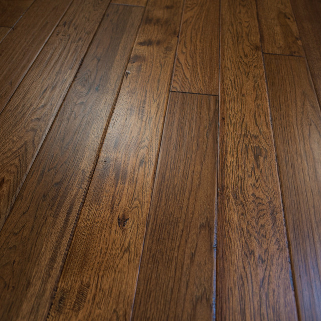 Hickory hand scraped prefinished solid wood flooring 5 x3 for Real oak hardwood flooring