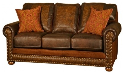 Western Rancher Style Leather Sofa Southwestern Sofas