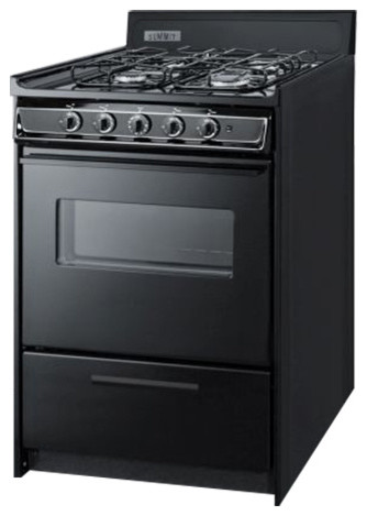 24 Wide Gas Range, Black With Sealed Burners.