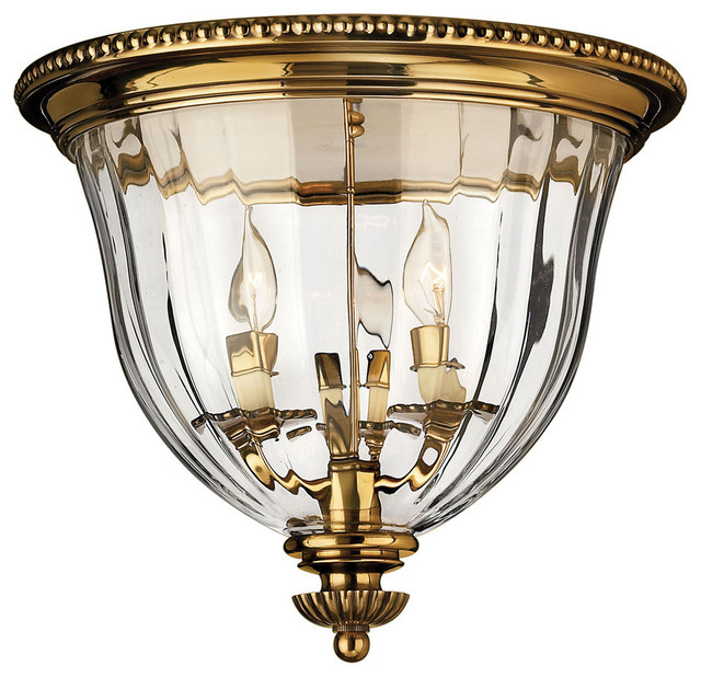 Hinkley Lighting 3 Light Flush Mount Shown In Burnished Brass.
