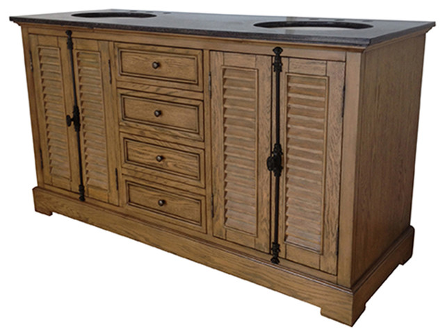 Crestview Oak Ridge Louvered Door Drawer Double Sink Vanity - Louvered door bathroom vanity