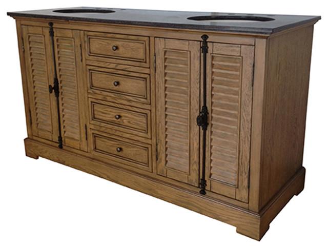 Crestview Oak Ridge Louvered Door Drawer Double Sink Vanity - Louvered door bathroom vanity