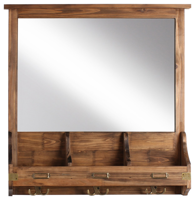 Stallard Decorative Rustic Wood Framed Mirror With Hooks ...