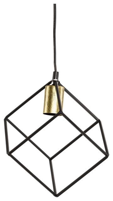 Black and Gold Cube Pendant Light