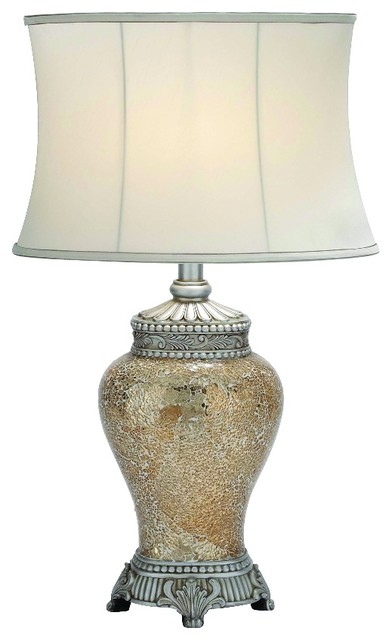 Attractive Polished Stone Mosaic Table Lamp, White Traditional Table Lamps