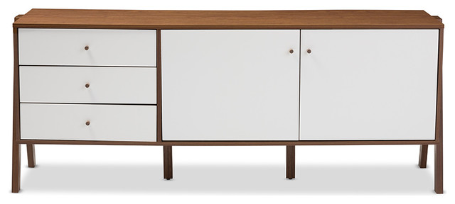 Harlow Wood Sideboard Storage Cabinet, Walnut Brown And White ...