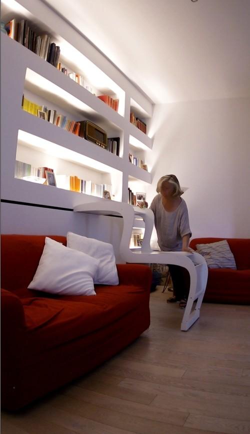 Librerie Con Scala Scorrevole In Legno.8 Esempi Di Scale Scorrevoli Per Librerie E Mobili Alti