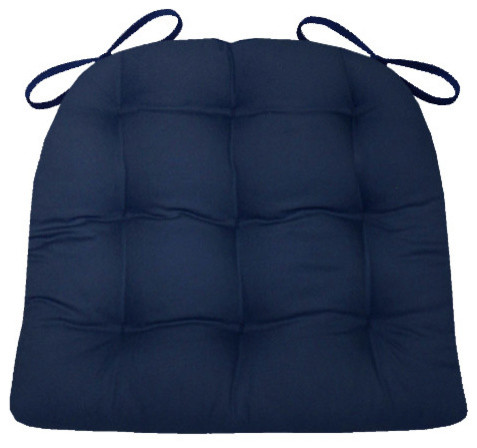Cotton Duck Navy Blue Chair Pad With Latex Foam Fill