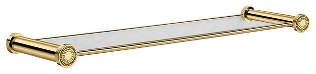 Shinelight Wall Glass Bathroom Shelf With Swarovski, Gold