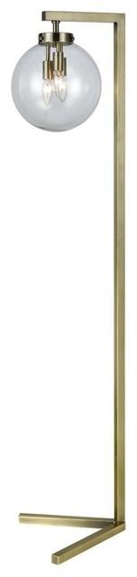 Carnegie Hill 3-Light Floor Lamp Antique Brass Clear Glass.