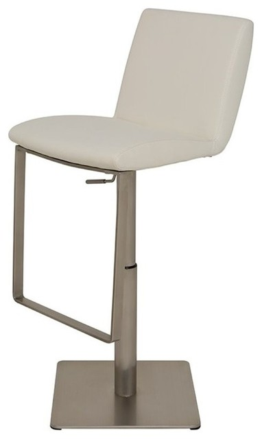 Lewis Brushed Adjustable Bar Stool, Modern Barstool, Faux Leather White by Nuevo