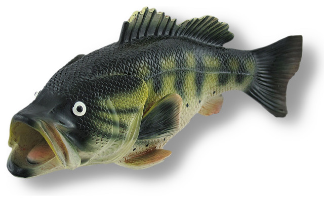 Catch of the day large mouth bass fish coin bank rustic for Baby bass fish for sale