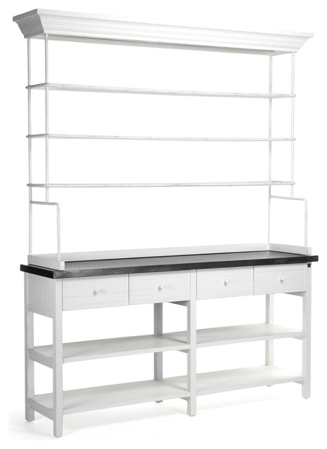Delightful Marion Classic White Industrial Metal Large Display Shelf Bakers Rack  Industrial Storage Cabinets