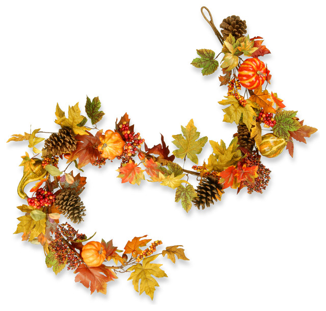 "Decorated Maple Leaf Garland, 72""."