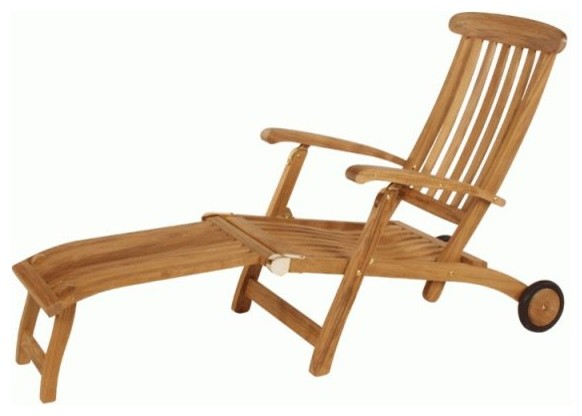 Barlow Tyrie Commodore Teak Steamer Chair With 26 Footrest And Wheels Traditional Outdoor