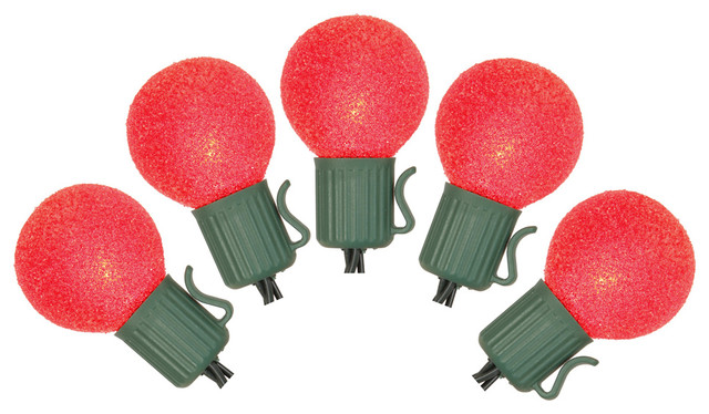 Battery Operated Sugaled G30 Christmas Lights, Set Of 10 , Red.