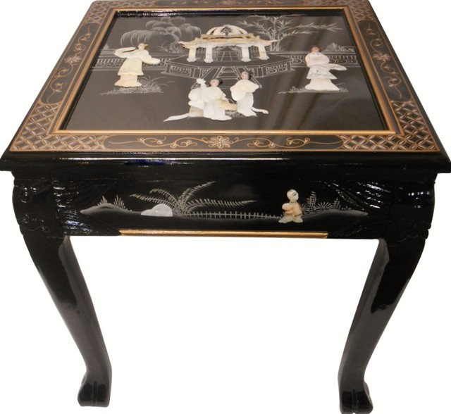 Dragon Leg Oriental End Table Inlaid Pearl Black Lacquer