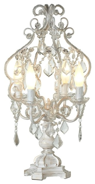 Ana 4 Light Chandelier Table Lamp, White With Gold Brush Mediterranean Table
