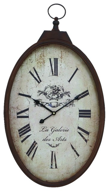 Old Fashioned Oval Pocket Watch Wall Clock Bronze Beige Decor