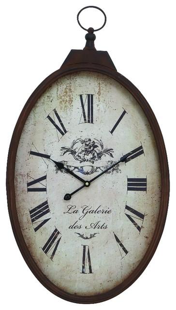 Old Fashioned Oval Pocket Watch Wall Clock Bronze Beige Decor 66972
