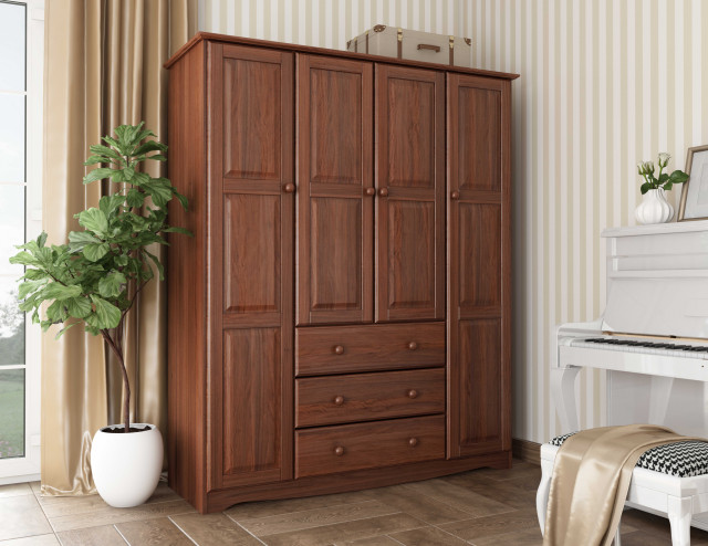 """Family 60"""" Solid Wood Wardrobe Armoire (All Shelves Sold Separately), Mocha"""