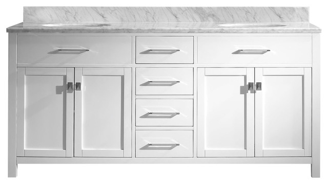"""Blaine 72"""" Traditional Freestanding White Double Bathroom Vanity With Marble"""
