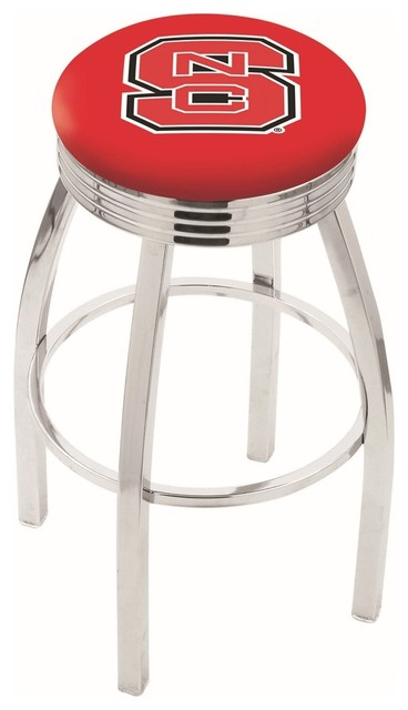 Enjoyable 30 Chrome North Carolina State Swivel Bar Stool With 2 5 Ribbed Accent Ring Unemploymentrelief Wooden Chair Designs For Living Room Unemploymentrelieforg
