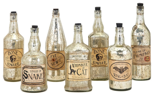 Apothescary Halloween Vintage Label Glass Bottles, Set Of 7, Silver.