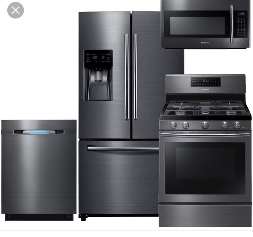 Black stainless/ stainless steel appliances