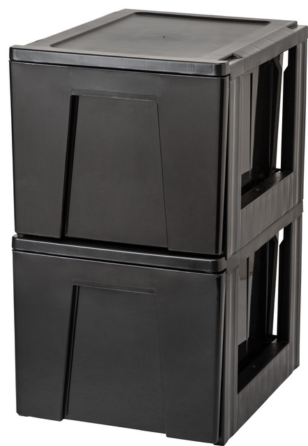 Stacking File Storage Drawer, 2-Pack, Black - Contemporary - Filing Cabinets - by IRIS USA, Inc.