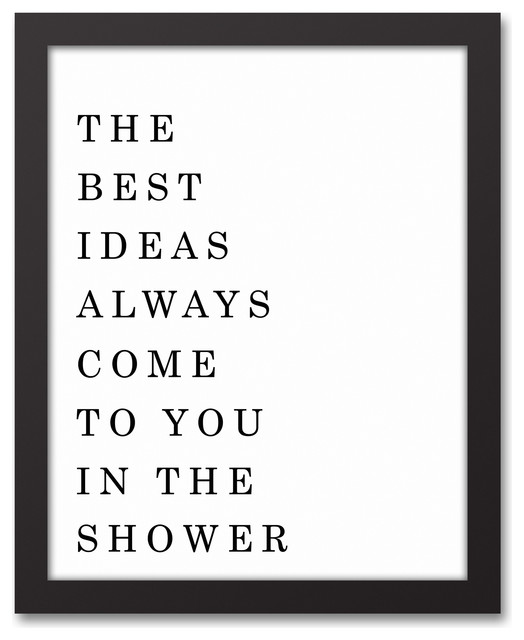 The Best Ideas Come To You In The Shower Wall Art, Framed Canvas.