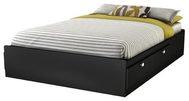 Modern Platform Bed Frame With 4 Storage Drawers In Black, Full.